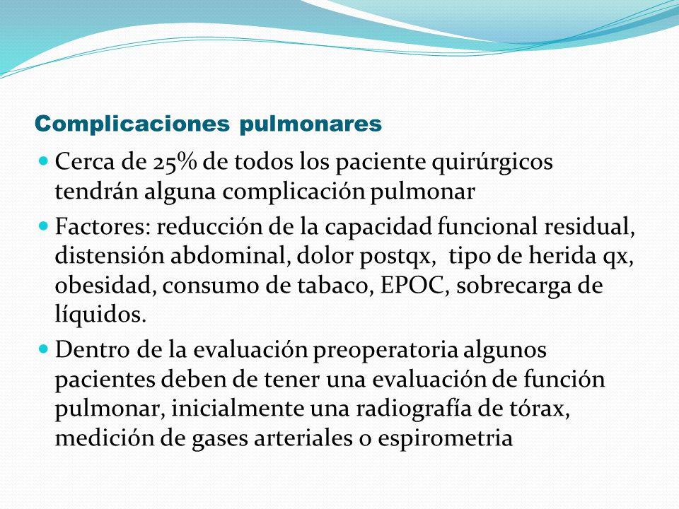Complicaciones pulmonares Cerca de 25% de todos los paciente quirúrgicos tendrán alguna complicación pulmonar Factores: reducción de la capacidad func