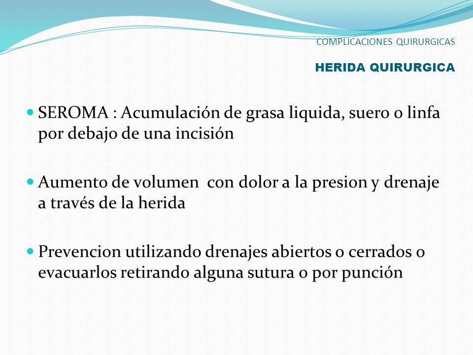 SEROMA : Acumulación de grasa liquida, suero o linfa por debajo de una incisión Aumento de volumen con dolor a la presion y drenaje a través de la her