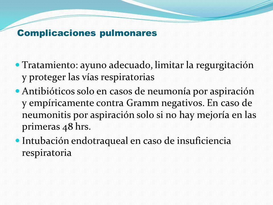 Complicaciones pulmonares Tratamiento: ayuno adecuado, limitar la regurgitación y proteger las vías respiratorias Antibióticos solo en casos de neumon
