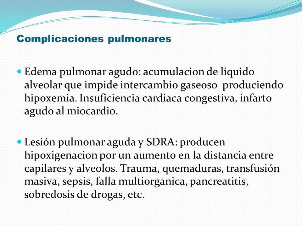 Complicaciones pulmonares Edema pulmonar agudo: acumulacion de liquido alveolar que impide intercambio gaseoso produciendo hipoxemia. Insuficiencia ca