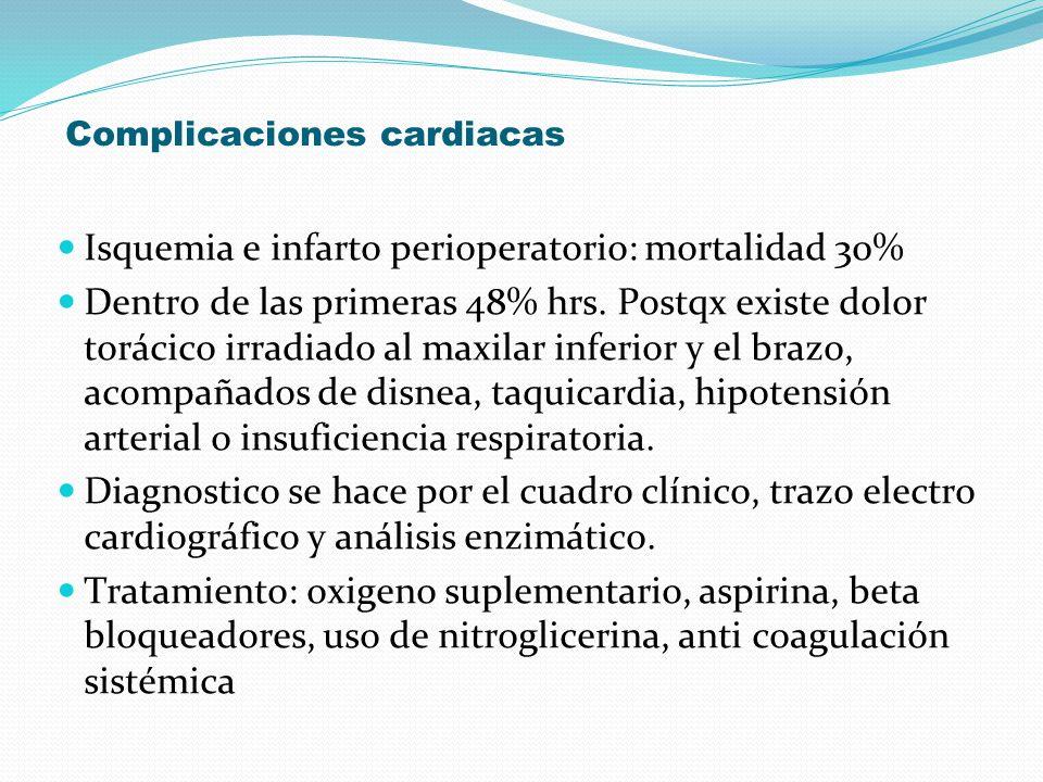 Complicaciones cardiacas Isquemia e infarto perioperatorio: mortalidad 30% Dentro de las primeras 48% hrs. Postqx existe dolor torácico irradiado al m