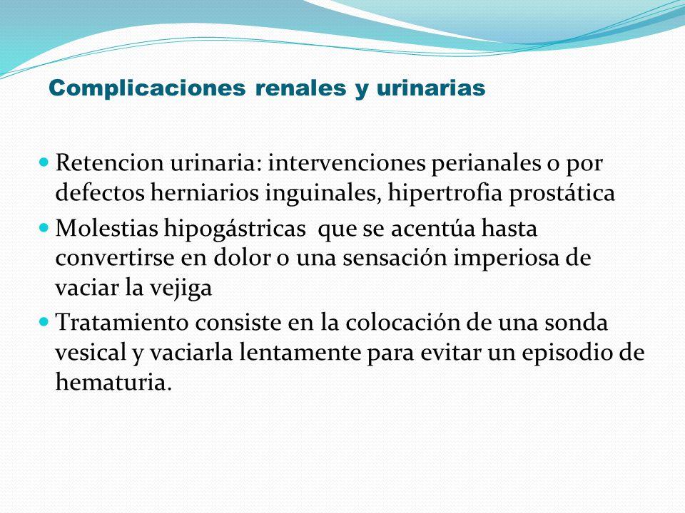 Complicaciones renales y urinarias Retencion urinaria: intervenciones perianales o por defectos herniarios inguinales, hipertrofia prostática Molestia