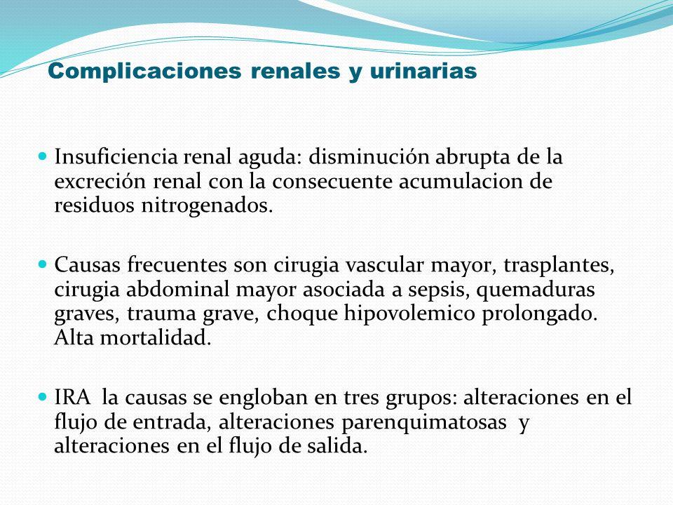 Complicaciones renales y urinarias Insuficiencia renal aguda: disminución abrupta de la excreción renal con la consecuente acumulacion de residuos nit