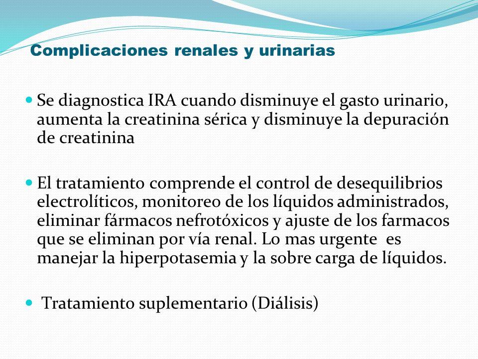 Complicaciones renales y urinarias Se diagnostica IRA cuando disminuye el gasto urinario, aumenta la creatinina sérica y disminuye la depuración de cr