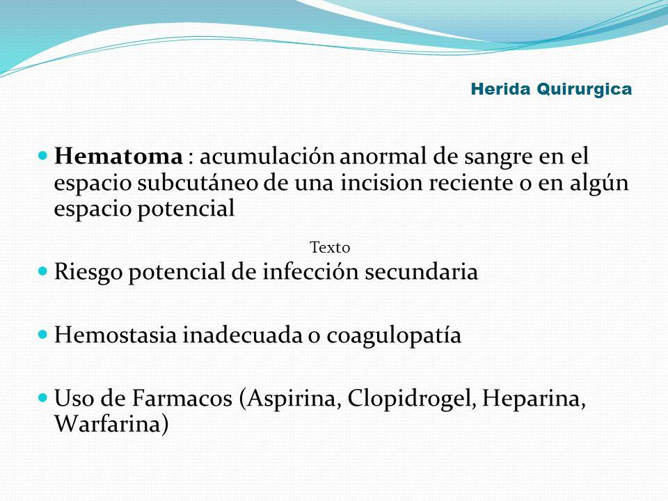 Herida Quirurgica Hematoma : acumulación anormal de sangre en el espacio subcutáneo de una incision reciente o en algún espacio potencial Riesgo poten