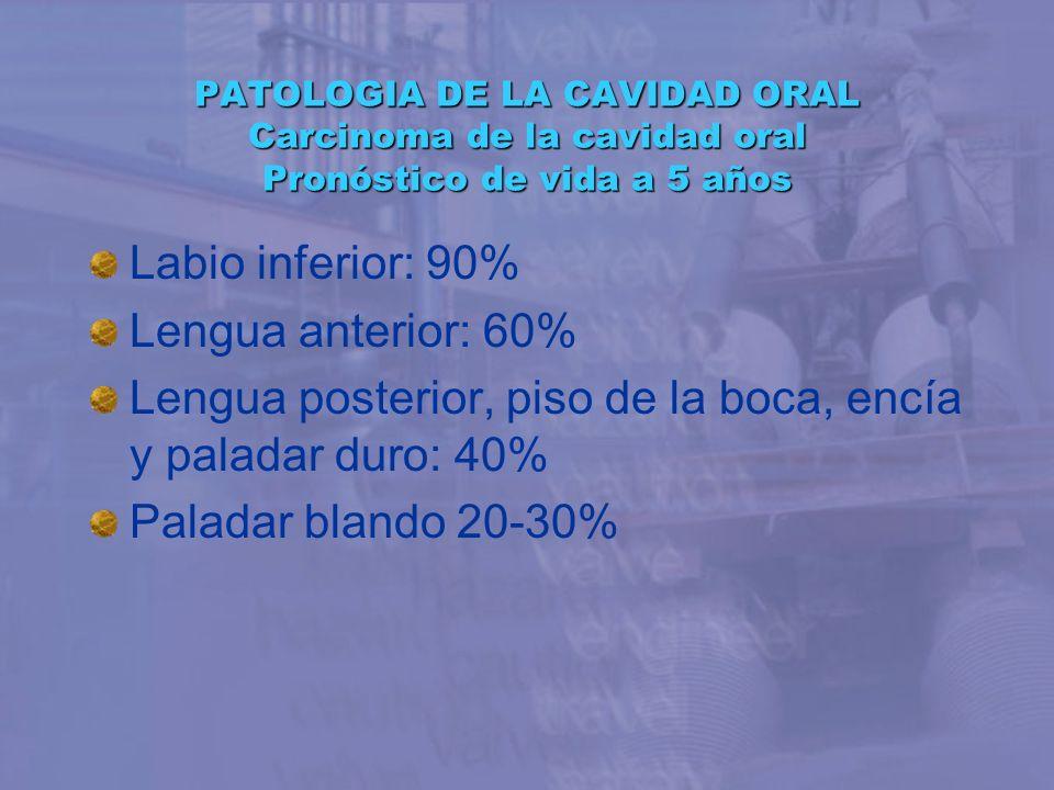 PATOLOGIA DE LA CAVIDAD ORAL Carcinoma de la cavidad oral Pronóstico de vida a 5 años Labio inferior: 90% Lengua anterior: 60% Lengua posterior, piso