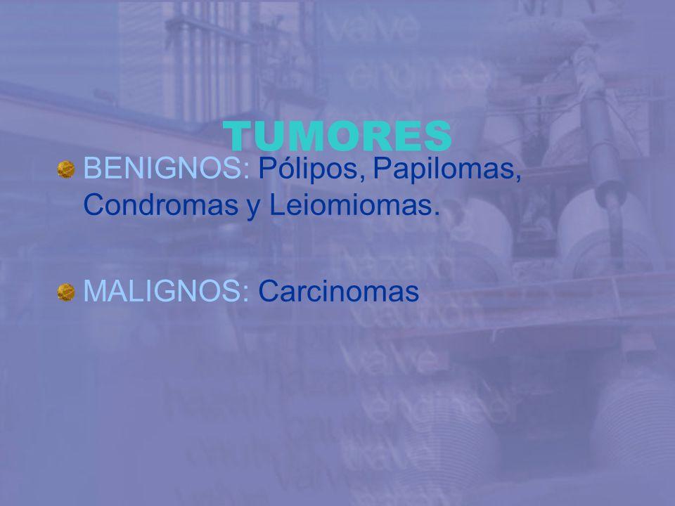 TUMORES BENIGNOS: Pólipos, Papilomas, Condromas y Leiomiomas. MALIGNOS: Carcinomas