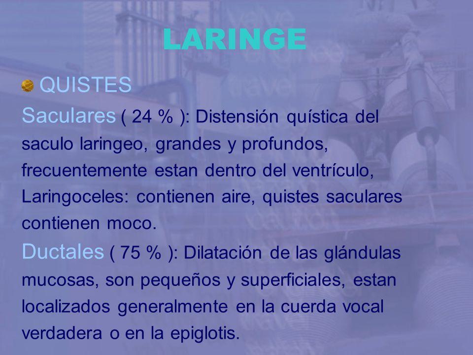 LARINGE QUISTES Saculares ( 24 % ): Distensión quística del saculo laringeo, grandes y profundos, frecuentemente estan dentro del ventrículo, Laringoc