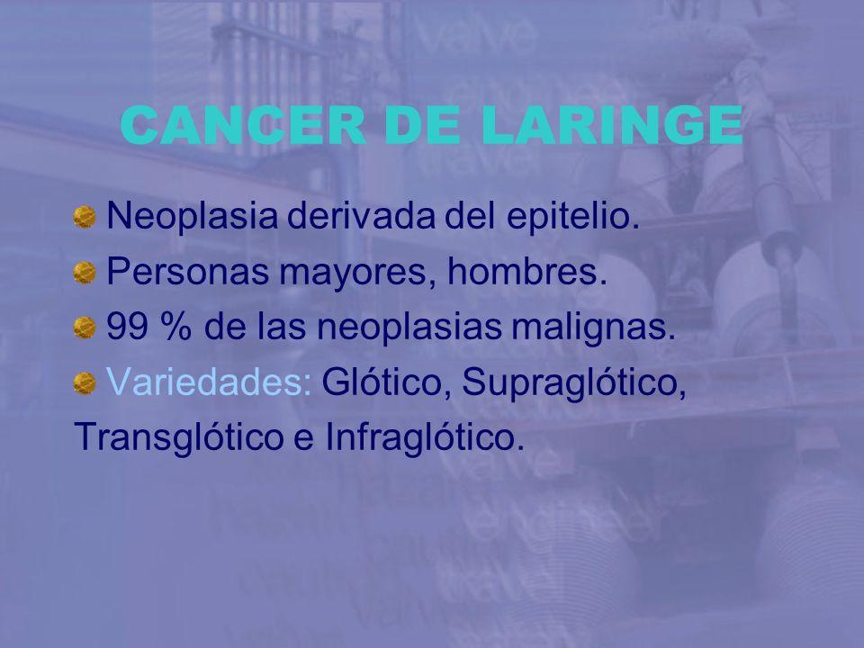 CANCER DE LARINGE Neoplasia derivada del epitelio. Personas mayores, hombres. 99 % de las neoplasias malignas. Variedades: Glótico, Supraglótico, Tran