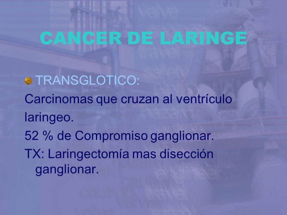 CANCER DE LARINGE TRANSGLOTICO: Carcinomas que cruzan al ventrículo laringeo. 52 % de Compromiso ganglionar. TX: Laringectomía mas disección gangliona