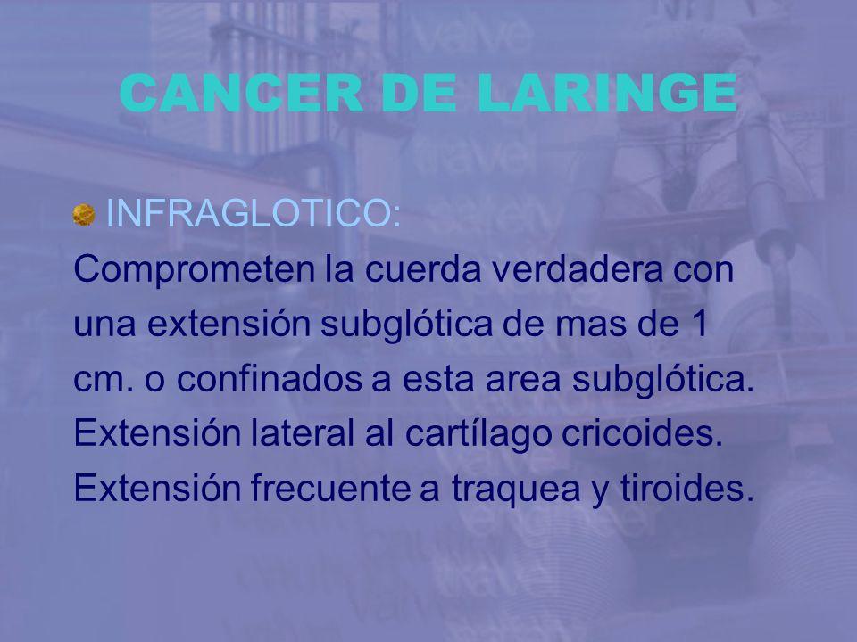 CANCER DE LARINGE INFRAGLOTICO: Comprometen la cuerda verdadera con una extensión subglótica de mas de 1 cm. o confinados a esta area subglótica. Exte