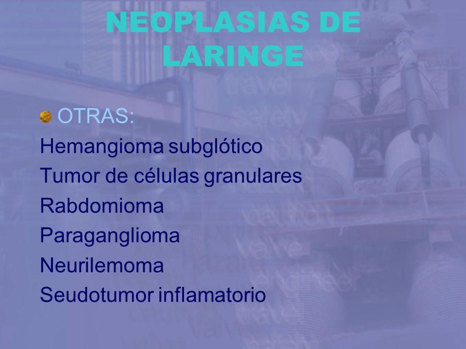NEOPLASIAS DE LARINGE OTRAS: Hemangioma subglótico Tumor de células granulares Rabdomioma Paraganglioma Neurilemoma Seudotumor inflamatorio