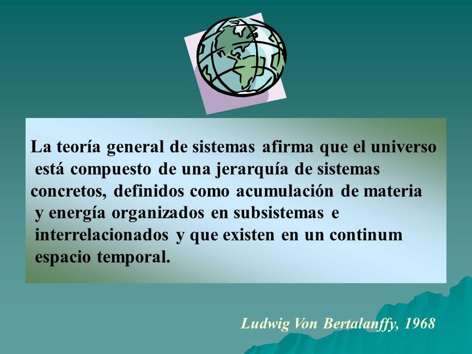 La teoría general de sistemas afirma que el universo está compuesto de una jerarquía de sistemas concretos, definidos como acumulación de materia y en