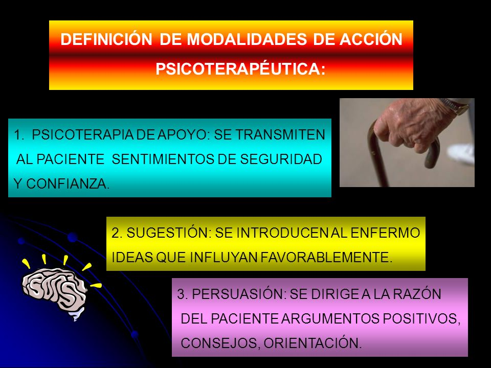 1.PSICOTERAPIA DE APOYO: SE TRANSMITEN AL PACIENTE SENTIMIENTOS DE SEGURIDAD Y CONFIANZA. DEFINICIÓN DE MODALIDADES DE ACCIÓN PSICOTERAPÉUTICA: 2. SUG