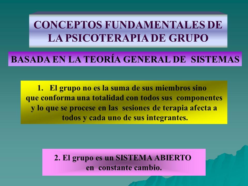 CONCEPTOS FUNDAMENTALES DE LA PSICOTERAPIA DE GRUPO BASADA EN LA TEORÍA GENERAL DE SISTEMAS 1.El grupo no es la suma de sus miembros sino que conforma