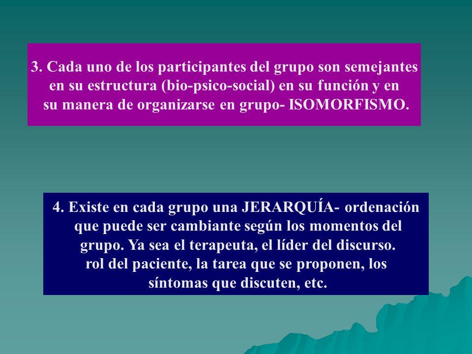 3. Cada uno de los participantes del grupo son semejantes en su estructura (bio-psico-social) en su función y en su manera de organizarse en grupo- IS