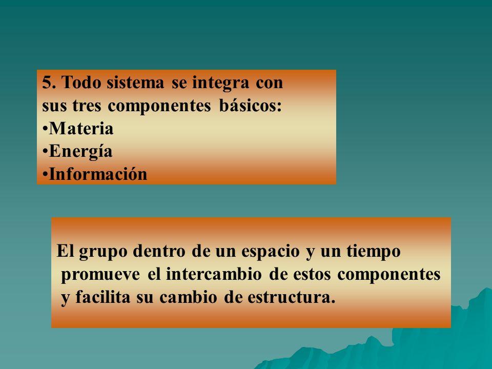 5. Todo sistema se integra con sus tres componentes básicos: Materia Energía Información El grupo dentro de un espacio y un tiempo promueve el interca