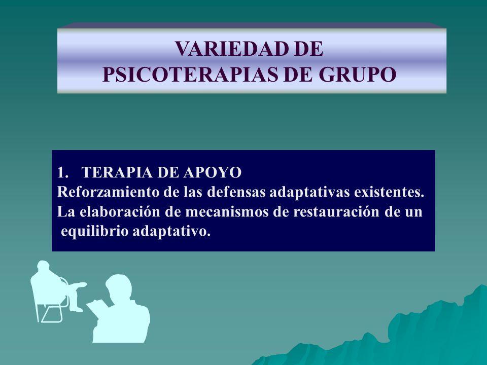 VARIEDAD DE PSICOTERAPIAS DE GRUPO 1.TERAPIA DE APOYO Reforzamiento de las defensas adaptativas existentes. La elaboración de mecanismos de restauraci
