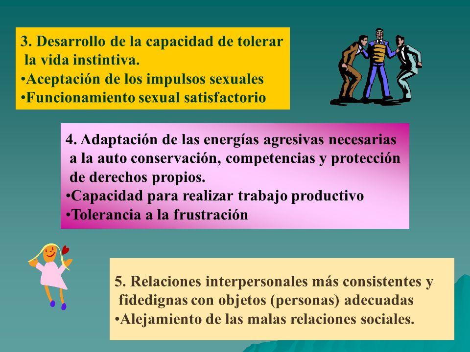 3. Desarrollo de la capacidad de tolerar la vida instintiva. Aceptación de los impulsos sexuales Funcionamiento sexual satisfactorio 4. Adaptación de