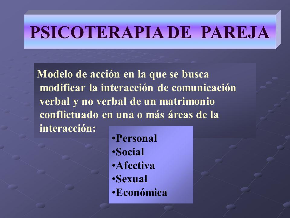 PSICOTERAPIA DE PAREJA Modelo de acción en la que se busca modificar la interacción de comunicación verbal y no verbal de un matrimonio conflictuado e