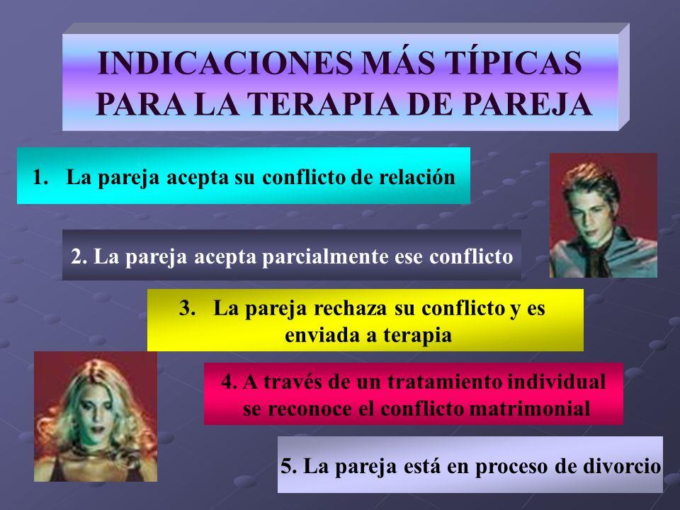 INDICACIONES MÁS TÍPICAS PARA LA TERAPIA DE PAREJA 2. La pareja acepta parcialmente ese conflicto 4. A través de un tratamiento individual se reconoce