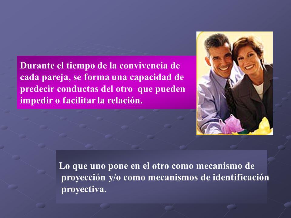 Durante el tiempo de la convivencia de cada pareja, se forma una capacidad de predecir conductas del otro que pueden impedir o facilitar la relación.