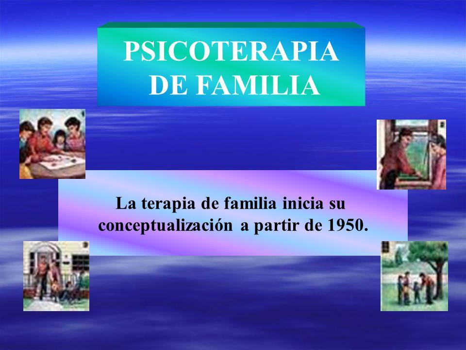 La terapia de familia inicia su conceptualización a partir de 1950. PSICOTERAPIA DE FAMILIA