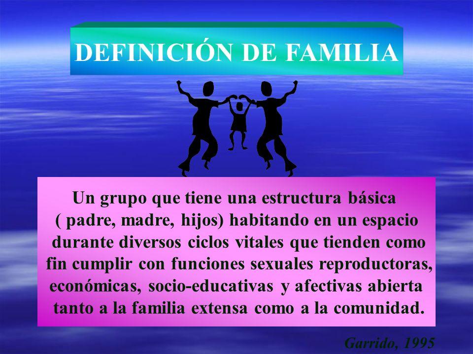 Un grupo que tiene una estructura básica ( padre, madre, hijos) habitando en un espacio durante diversos ciclos vitales que tienden como fin cumplir c