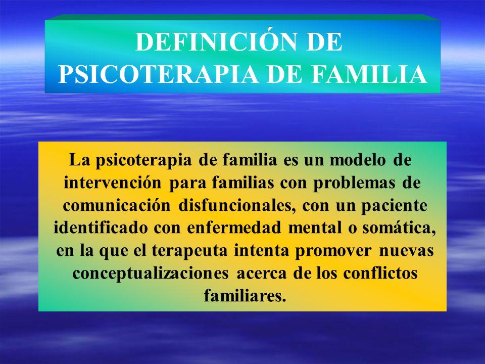 DEFINICIÓN DE PSICOTERAPIA DE FAMILIA La psicoterapia de familia es un modelo de intervención para familias con problemas de comunicación disfuncional
