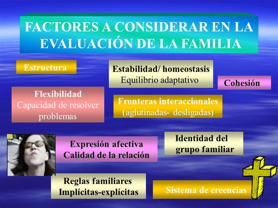 FACTORES A CONSIDERAR EN LA EVALUACIÓN DE LA FAMILIA Estructura Estabilidad/ homeostasis Equilibrio adaptativo Flexibilidad Capacidad de resolver prob