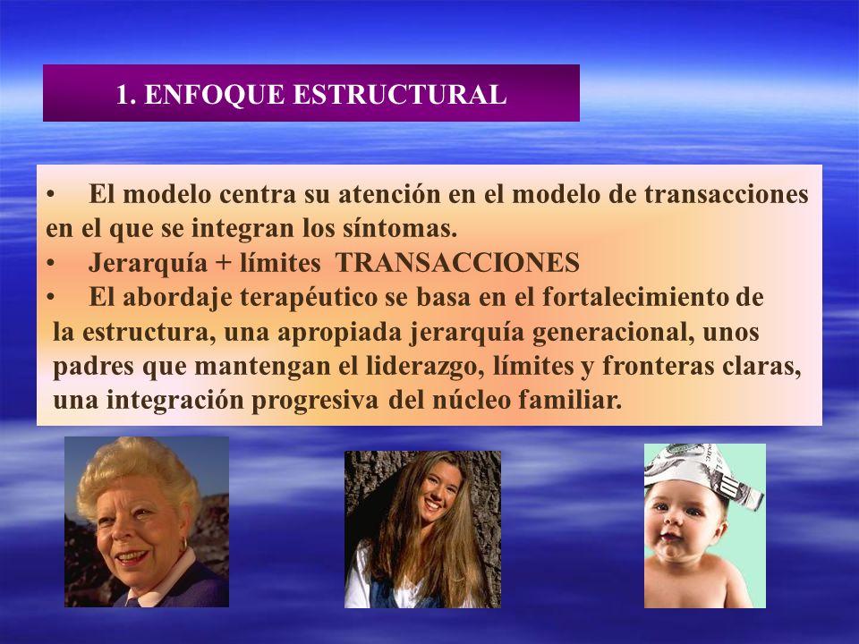 1. ENFOQUE ESTRUCTURAL El modelo centra su atención en el modelo de transacciones en el que se integran los síntomas. Jerarquía + límites TRANSACCIONE