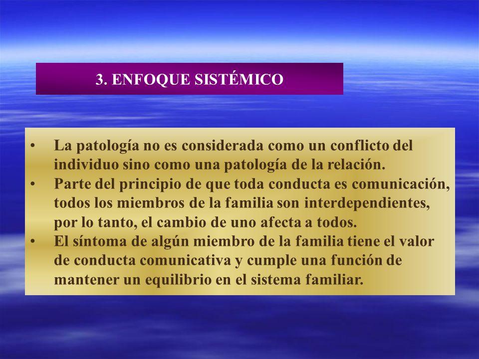 3. ENFOQUE SISTÉMICO La patología no es considerada como un conflicto del individuo sino como una patología de la relación. Parte del principio de que