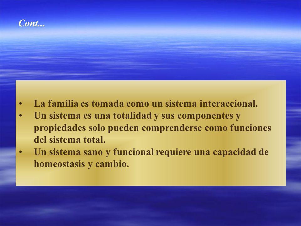 La familia es tomada como un sistema interaccional. Un sistema es una totalidad y sus componentes y propiedades solo pueden comprenderse como funcione