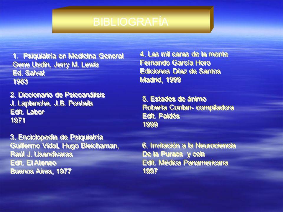 BIBLIOGRAFÍA 1.Psiquiatría en Medicina General Gene Usdin, Jerry M. Lewis Ed. Salvat 1983 1.Psiquiatría en Medicina General Gene Usdin, Jerry M. Lewis