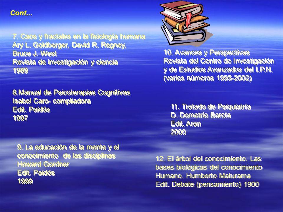 Cont... 7. Caos y fractales en la fisiología humana Ary L. Goldberger, David R. Regney, Bruce J. West Revista de investigación y ciencia 1989 7. Caos