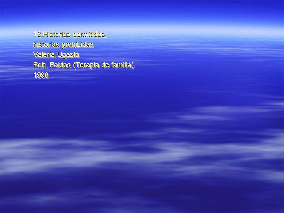 13.Historias permitidas, historias prohibidas Valeria Ugazío Edit. Paidos (Terapia de familia) 1998 13.Historias permitidas, historias prohibidas Vale