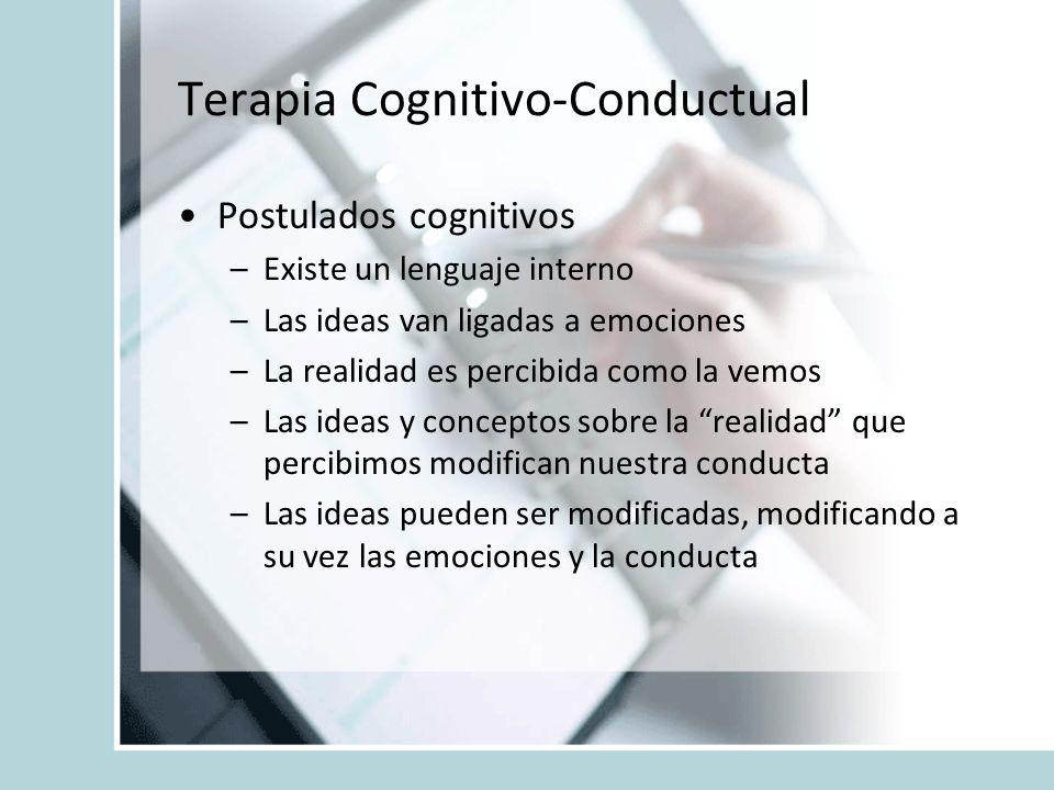Terapia Cognitivo-Conductual Postulados cognitivos –Existe un lenguaje interno –Las ideas van ligadas a emociones –La realidad es percibida como la ve