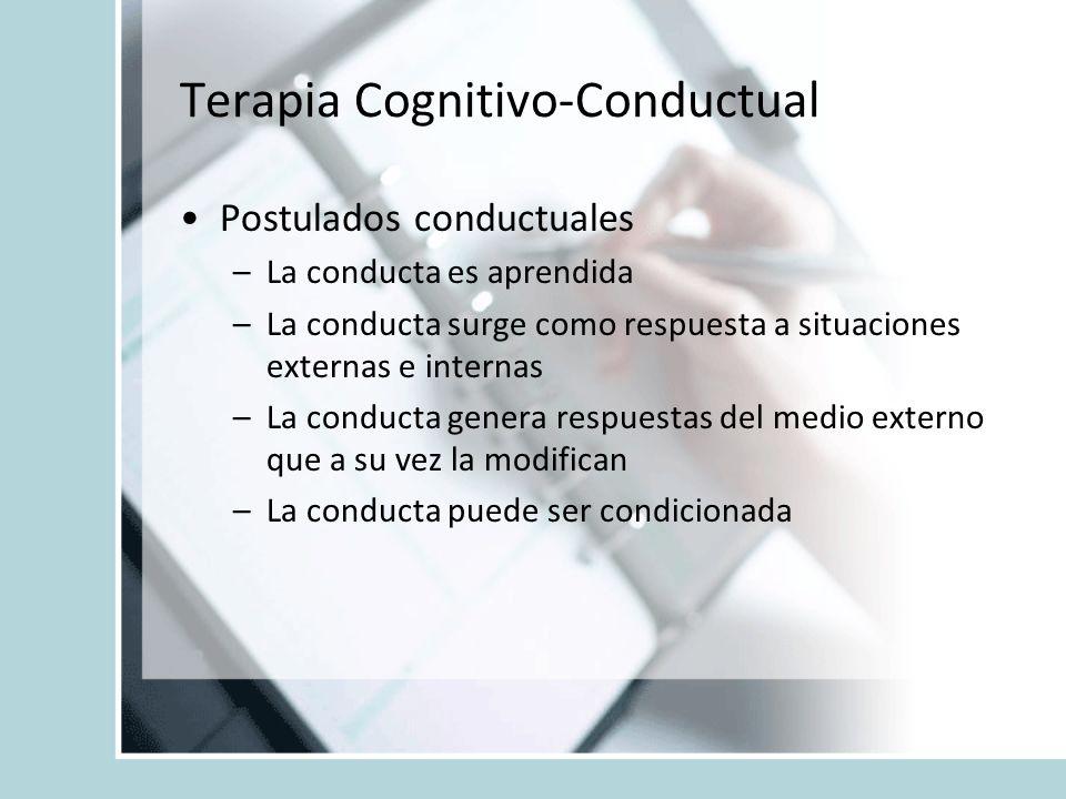 Terapia Cognitivo-Conductual Postulados conductuales –La conducta es aprendida –La conducta surge como respuesta a situaciones externas e internas –La