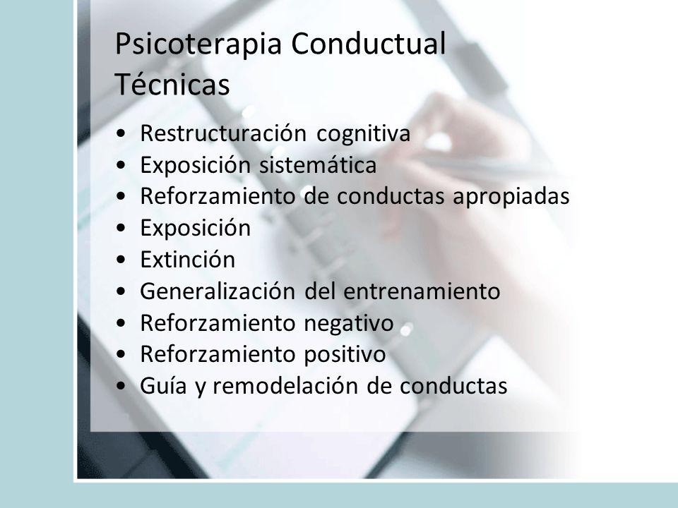 Psicoterapia Conductual Técnicas Restructuración cognitiva Exposición sistemática Reforzamiento de conductas apropiadas Exposición Extinción Generaliz