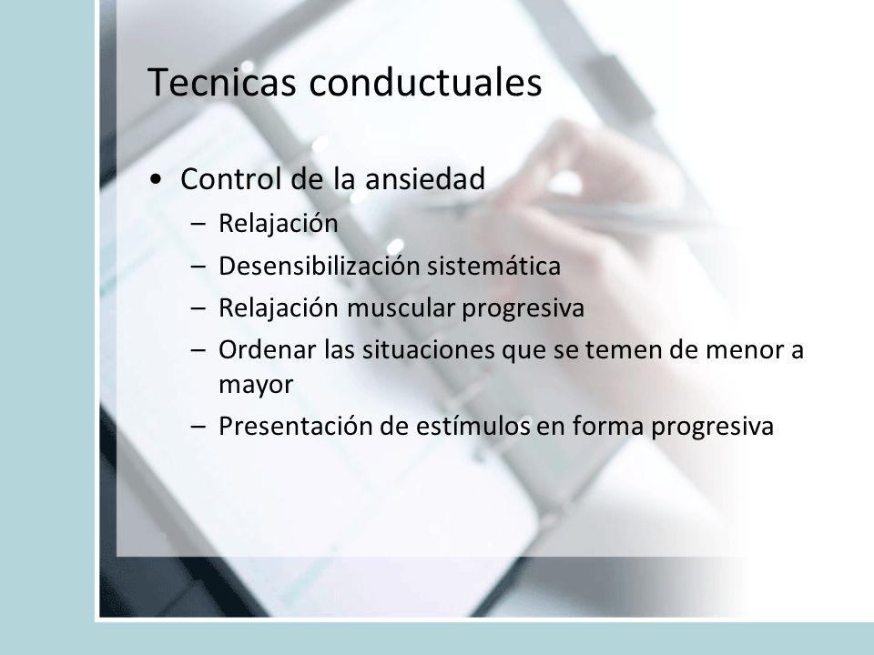 Tecnicas conductuales Control de la ansiedad –Relajación –Desensibilización sistemática –Relajación muscular progresiva –Ordenar las situaciones que s