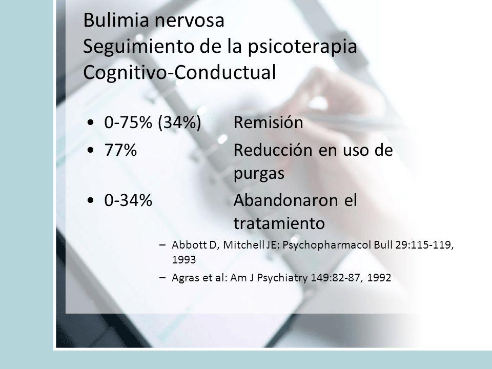 Bulimia nervosa Seguimiento de la psicoterapia Cognitivo-Conductual 0-75% (34%) Remisión 77% Reducción en uso de purgas 0-34% Abandonaron el tratamien