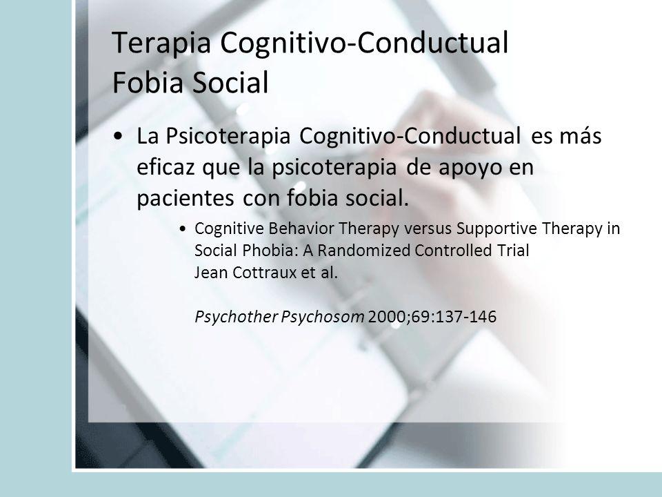 La Psicoterapia Cognitivo-Conductual es más eficaz que la psicoterapia de apoyo en pacientes con fobia social. Cognitive Behavior Therapy versus Suppo