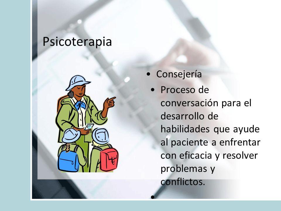 Psicoterapia Consejería Proceso de conversación para el desarrollo de habilidades que ayude al paciente a enfrentar con eficacia y resolver problemas