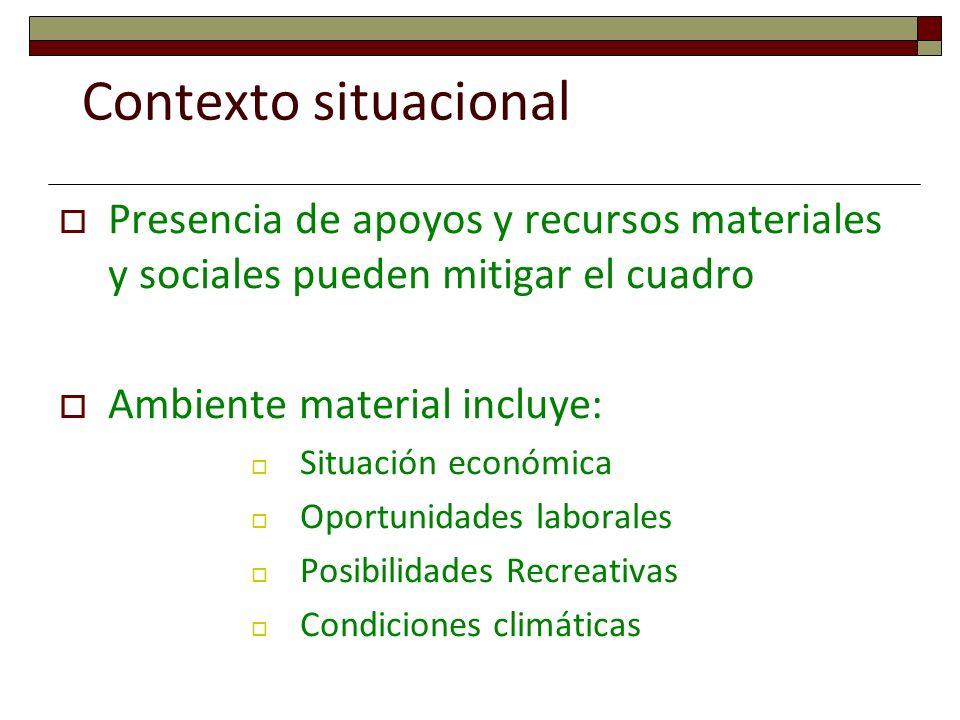 Contexto situacional Presencia de apoyos y recursos materiales y sociales pueden mitigar el cuadro Ambiente material incluye: Situación económica Opor