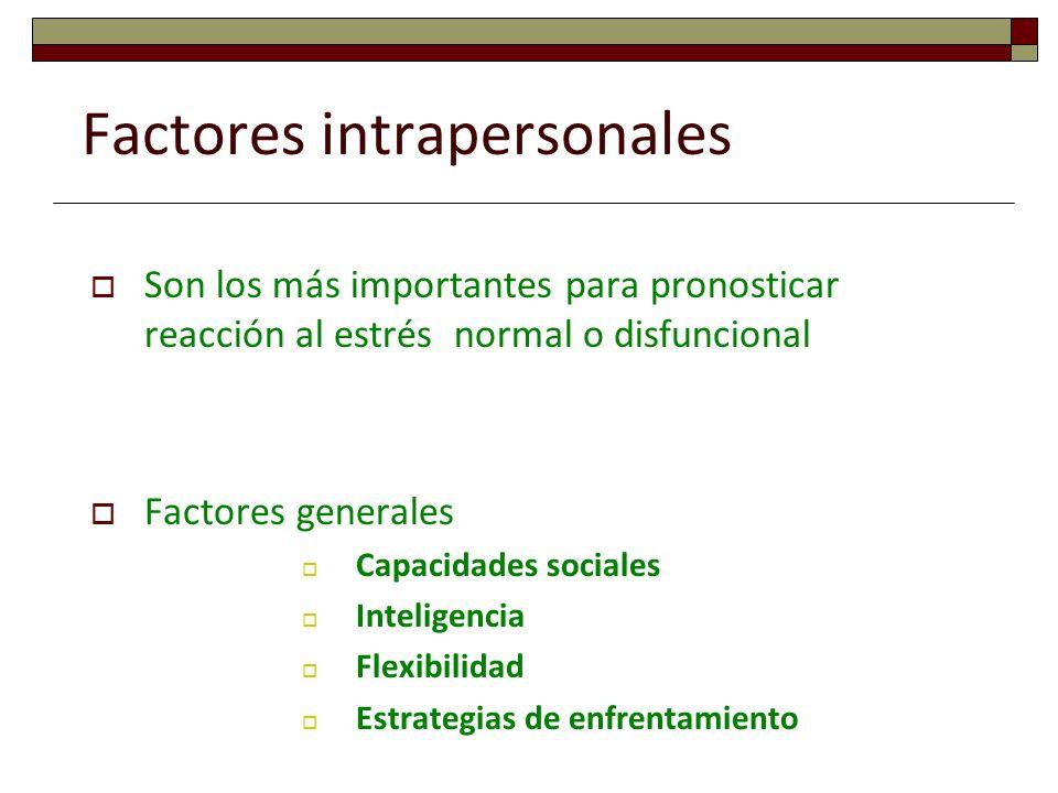 Factores intrapersonales Son los más importantes para pronosticar reacción al estrés normal o disfuncional Factores generales Capacidades sociales Int