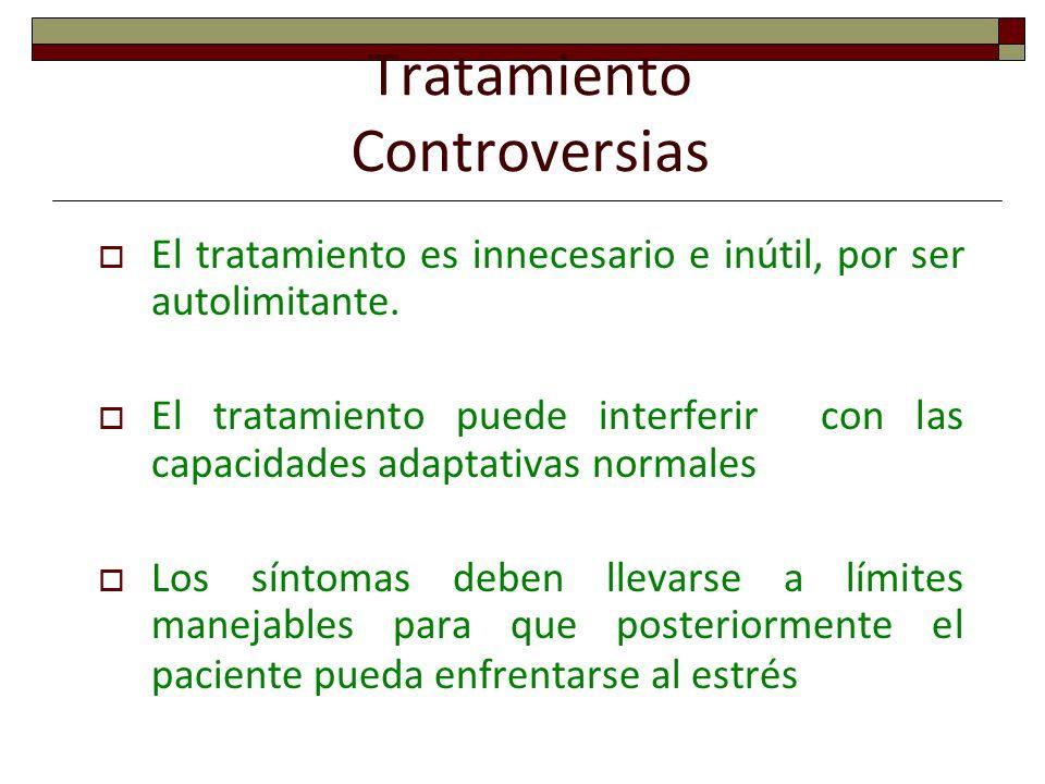 Tratamiento Controversias El tratamiento es innecesario e inútil, por ser autolimitante. El tratamiento puede interferir con las capacidades adaptativ