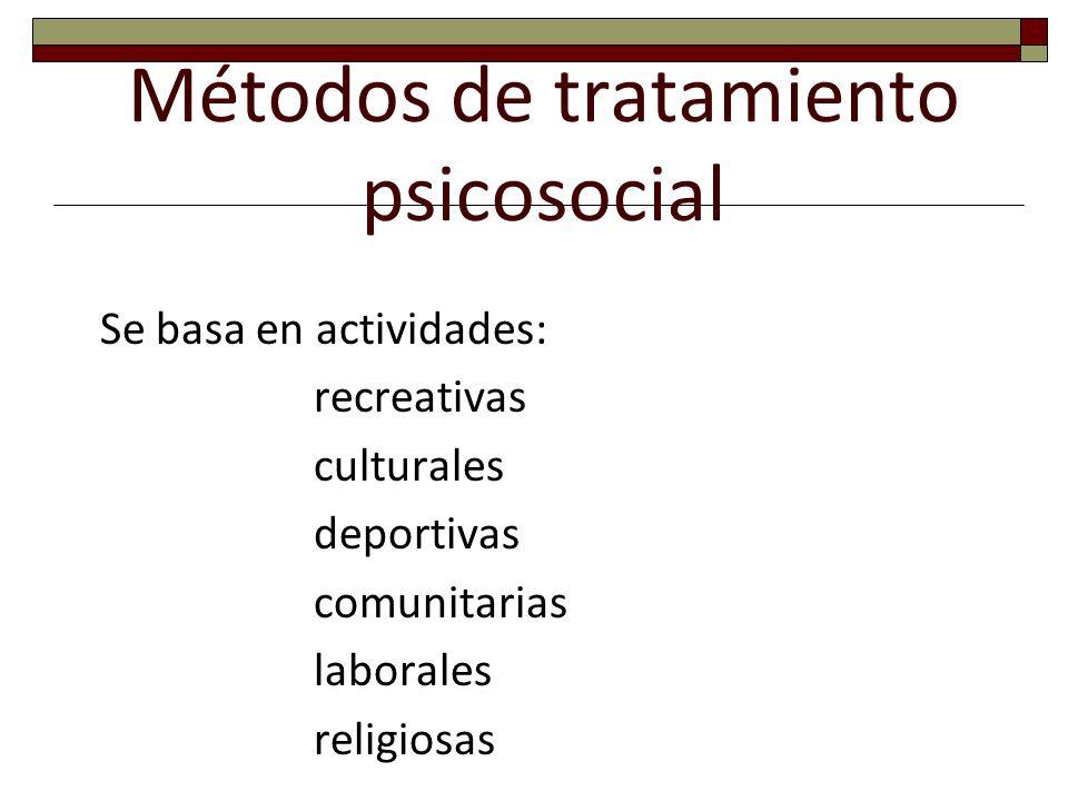 Métodos de tratamiento psicosocial Se basa en actividades: recreativas culturales deportivas comunitarias laborales religiosas