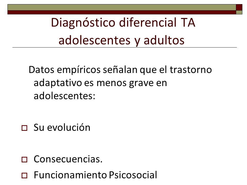 Diagnóstico diferencial TA adolescentes y adultos Datos empíricos señalan que el trastorno adaptativo es menos grave en adolescentes: Su evolución Con