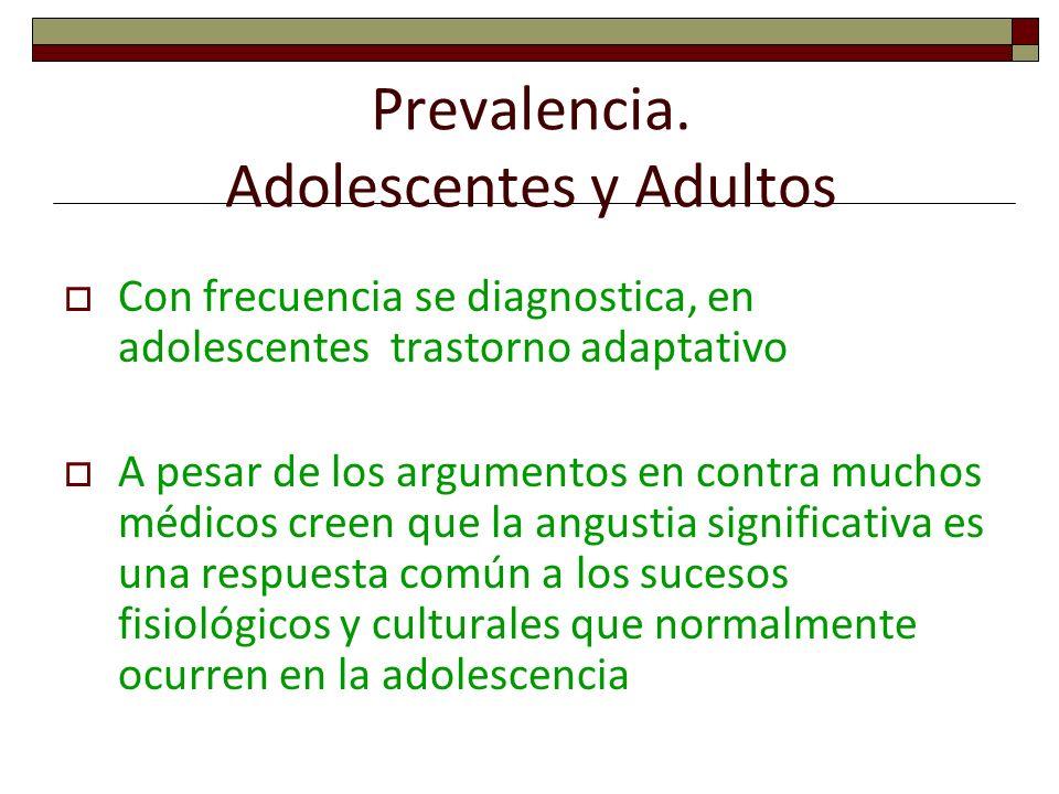 Prevalencia. Adolescentes y Adultos Con frecuencia se diagnostica, en adolescentes trastorno adaptativo A pesar de los argumentos en contra muchos méd