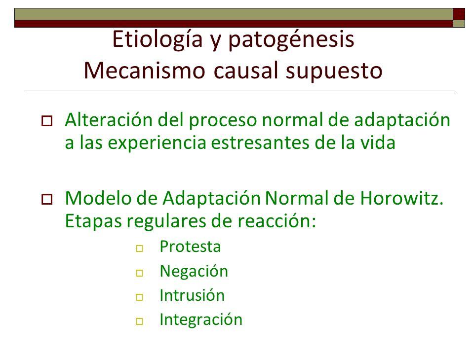 Etiología y patogénesis Mecanismo causal supuesto Alteración del proceso normal de adaptación a las experiencia estresantes de la vida Modelo de Adapt